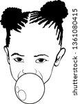 small black girl vector  bubble ... | Shutterstock .eps vector #1361080415