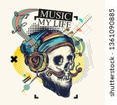 skull and music notes. zine... | Shutterstock .eps vector #1361090885
