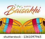 happy baisakhi design  vector... | Shutterstock .eps vector #1361097965