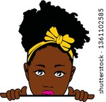 beauty black girl with bow ... | Shutterstock .eps vector #1361102585