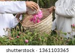 Stock photo omani hat called kuma filled with rose petals that will be used for making rose water 1361103365