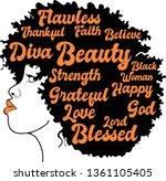 beauty afro woman with words...