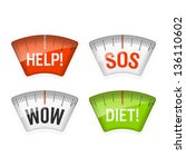 bathroom scales displaying help ... | Shutterstock .eps vector #136110602
