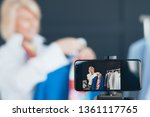 senior lady vlogger. fashion... | Shutterstock . vector #1361117765