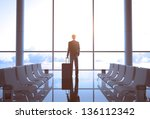 businessman with luggage in... | Shutterstock . vector #136112342