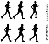set of silhouettes. runners on... | Shutterstock . vector #1361153138