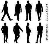black silhouette group of... | Shutterstock . vector #1361153195