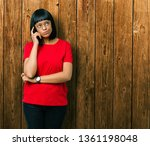 beautiful young african... | Shutterstock . vector #1361198048