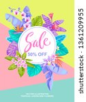 tropical hawaiian sale poster.... | Shutterstock .eps vector #1361209955
