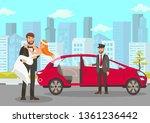 happy groom holds bride on... | Shutterstock .eps vector #1361236442