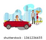 young woman in car flat... | Shutterstock .eps vector #1361236655