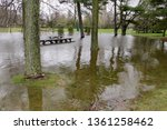 flooded picnic tables...   Shutterstock . vector #1361258462