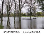 flooded picnic tables...   Shutterstock . vector #1361258465