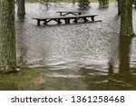 flooded picnic tables...   Shutterstock . vector #1361258468
