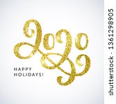happy holidays 2020 text. new... | Shutterstock .eps vector #1361298905