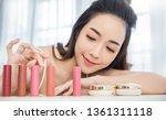 closeup portrait of young...   Shutterstock . vector #1361311118