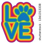 Love Pet Paw Retro Style...