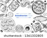 scandinavian cuisine top view... | Shutterstock .eps vector #1361332805