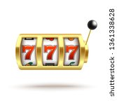 golden slot machine with lucky... | Shutterstock .eps vector #1361338628