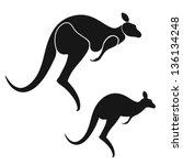 kangaroo. isolated animals on... | Shutterstock .eps vector #136134248