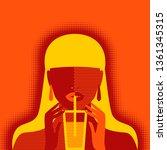 girl with lemonade on orange... | Shutterstock .eps vector #1361345315