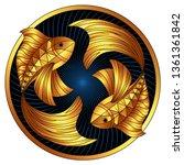 golden pisces zodiac sign  gilt ... | Shutterstock .eps vector #1361361842
