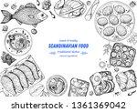scandinavian cuisine top view... | Shutterstock .eps vector #1361369042