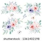 watercolor flower set  ... | Shutterstock . vector #1361402198