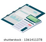 calculator math with notepad | Shutterstock .eps vector #1361411378