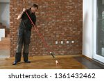lacquering wood floors. worker... | Shutterstock . vector #1361432462