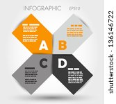 orange and grey infographic rounded squares ABCD. infographic concept.