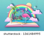 open fairy tale book with... | Shutterstock .eps vector #1361484995