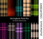 herringbone pixel plaid pattern ... | Shutterstock .eps vector #1361493845
