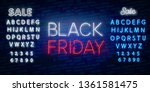 black friday sale neon sign... | Shutterstock .eps vector #1361581475
