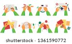 set of person hands making diy... | Shutterstock .eps vector #1361590772