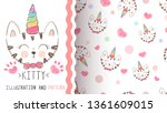 cute kitty  unicorn   seamless... | Shutterstock .eps vector #1361609015