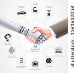 ai robot and business man... | Shutterstock .eps vector #1361632058