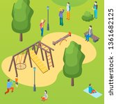 public park and children... | Shutterstock .eps vector #1361682125