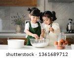 happy asian kids are preparing... | Shutterstock . vector #1361689712