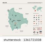 vector map of bolivia.  high... | Shutterstock .eps vector #1361721038