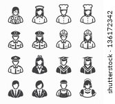 occupation icons and people... | Shutterstock .eps vector #136172342