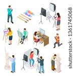 isometric artist. art studio... | Shutterstock .eps vector #1361745068