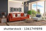 interior of the living room. 3d ... | Shutterstock . vector #1361749898