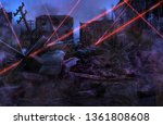 Ruined abandoned city after war battle attack. Buildings on the street destroyed by war, battlefield with red laser beams. Apocalypse, environment ecology, pollution, peace and world war concept. 3D