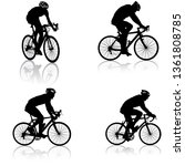 set silhouette of a cyclist... | Shutterstock . vector #1361808785