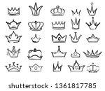 Doodling Crown. Ink Hand Drawn...