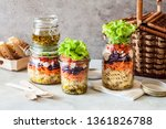 pasta and vegetable salad in a... | Shutterstock . vector #1361826788