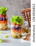 pasta and vegetable salad in a... | Shutterstock . vector #1361826812