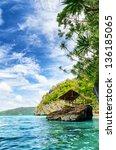 tropical seashore. coron ... | Shutterstock . vector #136185065