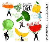 people and vegetables. men and... | Shutterstock .eps vector #1361880335